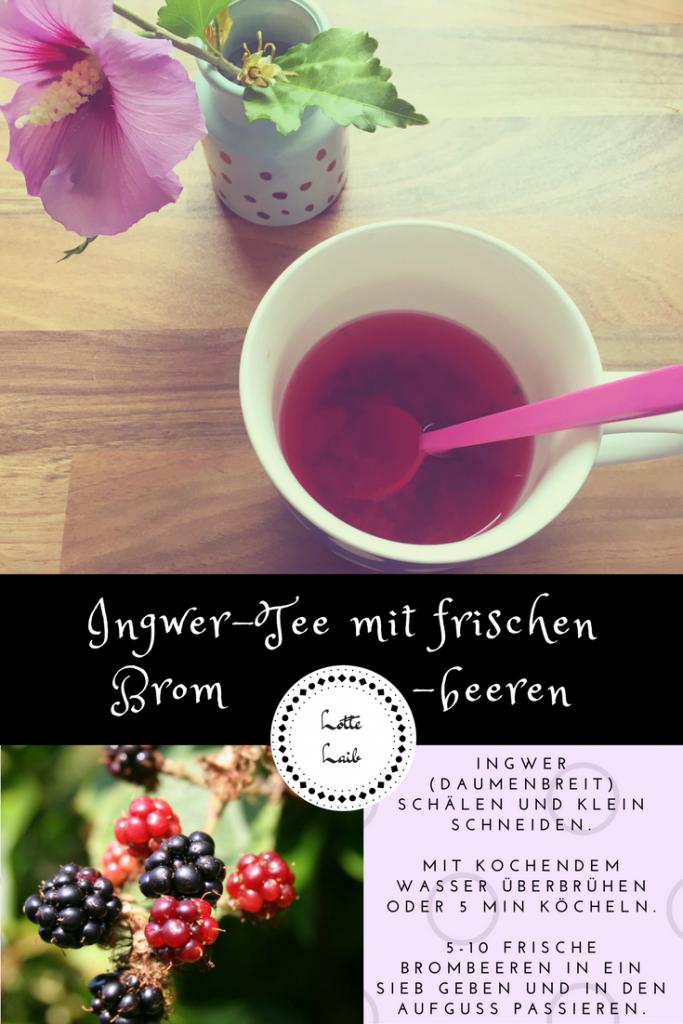 Ingwer-Tee mit frischen Brombeeren