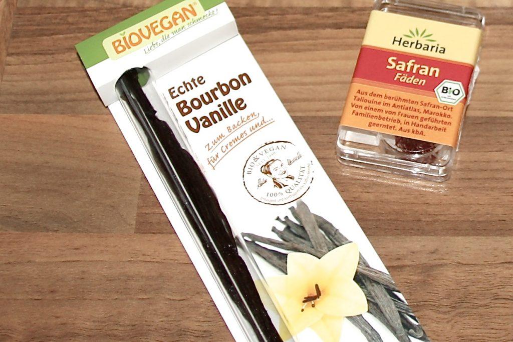 Vanille und Safran zu würzen der Milch