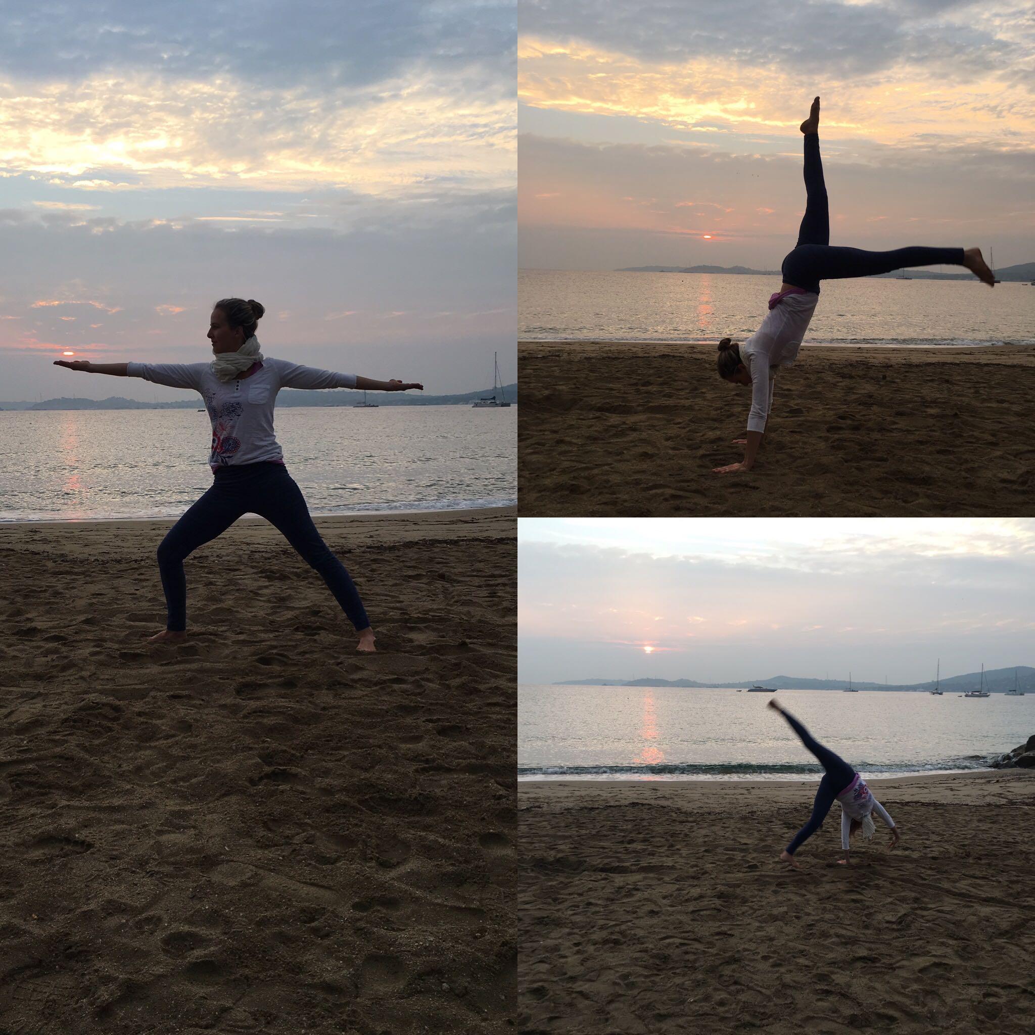 Lotte macht Yoga am Strand - gegen den dicken Bauch
